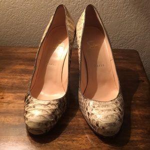Christian Louboutin snake skin heels size 39